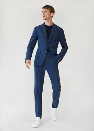 Костюмные брюки slim fit с мелкой фактурной выделкой - Brasilia Mango. Цвет: чернильный