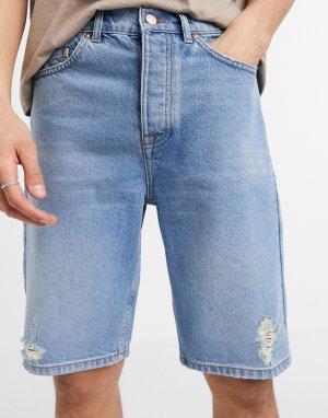 Узкие джинсовые шорты в винтажном стиле выбеленного голубого цвета -Голубой ASOS DESIGN