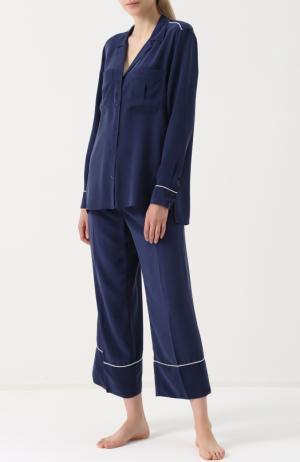 Шелковая пижама с укороченными брюками Equipment. Цвет: фиолетовый