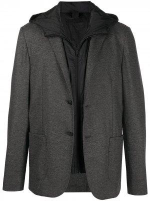 Однобортный пиджак со съемным жилетом Z Zegna. Цвет: черный