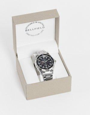 Серебристые мужские часы с черным циферблатом -Серебристый Bellfield