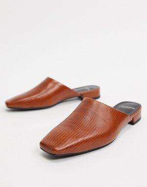 Светло-коричневые кожаные мюли -Коричневый цвет Vagabond