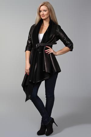 Пальто кожаное с ремнем Kaufmanfranco. Цвет: черный