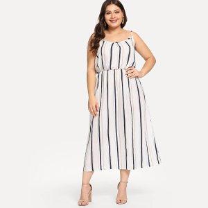 Большое полосатое платье с открытыми плечами SHEIN. Цвет: многоцветный