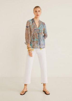 Блузка с принтом пейсли - Zoco Mango. Цвет: синий
