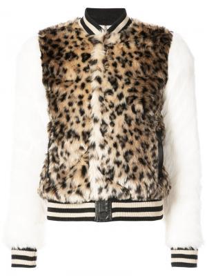 Леопардовая куртка-бомбер с искусственным мехом Mother. Цвет: многоцветный