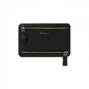 Кожаный футляр для документов Santoni. Цвет: чёрный