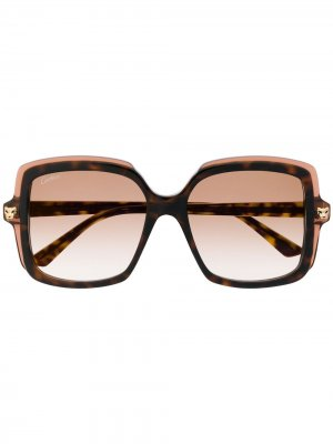 Солнцезащитные очки с затемненными линзами в квадратной оправе Cartier. Цвет: коричневый
