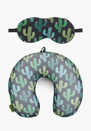 Подушка Gekoko для самолета + маска глаз. Цвет: зеленый