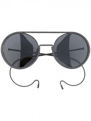 Солнцезащитные очки в круглой оправе Boris Bidjan Saberi. Цвет: серый