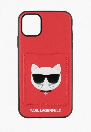Чехол для iPhone Karl Lagerfeld 11 Pro Max, PU Leather with cardslot Choupettes Head Hard Red. Цвет: красный