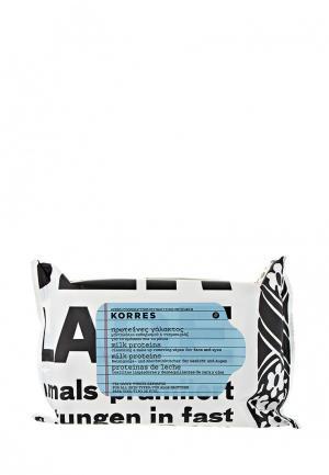 Салфетки для снятия макияжа Korres с молочными протеинами всех типов кожи 25 шт. Цвет: белый