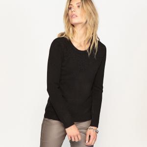 Пуловер с рельефным рисунком ANNE WEYBURN. Цвет: черный