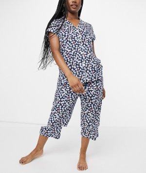 Темно-синяя трикотажная пижама в цветочек с брюками капри и рубашкой лацканами Lauren by Ralph Lauren-Темно-синий