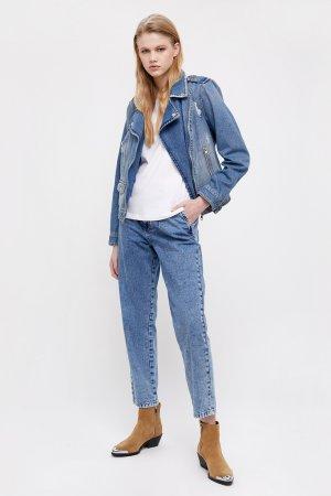 Куртка-косуха из голубого денима Finn-Flare. Цвет: синий
