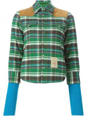 Куртка в клетку с кожаными деталями Dsquared2. Цвет: зелёный