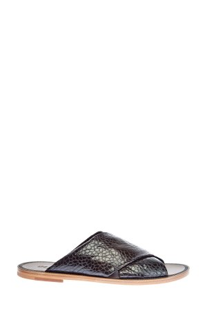 Шлепанцы из тисненой телячьей кожи с перекрестной отделкой BRUNELLO CUCINELLI. Цвет: черный