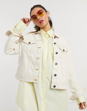 Светло-бежевая джинсовая куртка -Белый Noisy May