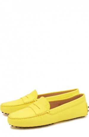 Кожаные мокасины Gommini Tod's. Цвет: жёлтый