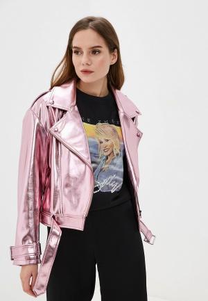 Куртка кожаная Imperial. Цвет: розовый