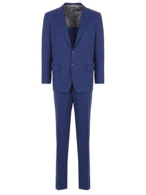 Классический костюм из шерсти ANDREA CAMPAGNA. Цвет: синий