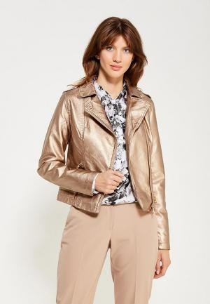 Куртка кожаная B.Style BS002EWWVU55. Цвет: золотой