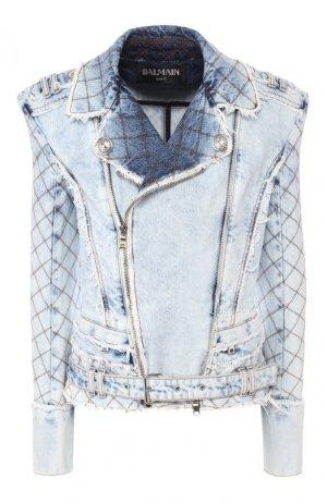 Джинсовая куртка Balmain. Цвет: голубой