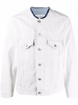 Джинсовая куртка с необработанными краями Maison Margiela. Цвет: белый