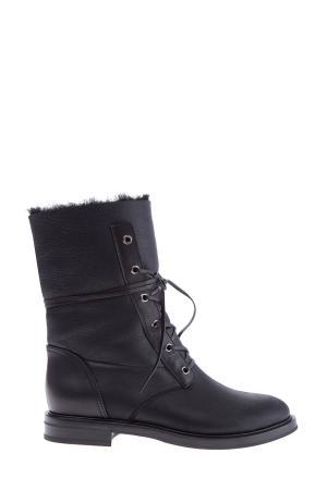 Ботинки из овчины с внутренним утеплением и изящной шнуровкой CASADEI. Цвет: черный