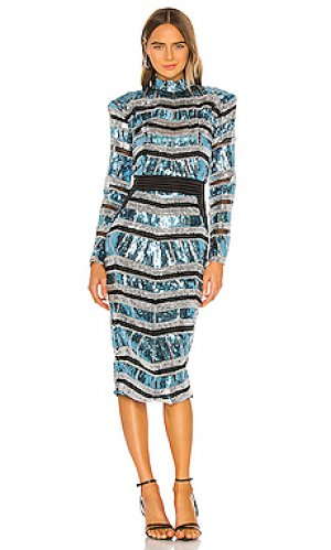 Платье миди illume Zhivago. Цвет: blue,metallic silver