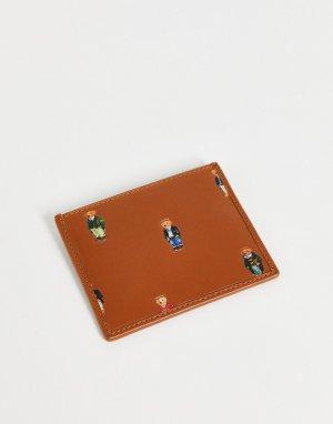 Светло-коричневая кожаная кредитница со сплошным принтом в виде медвежонка -Светло-бежевый цвет Polo Ralph Lauren