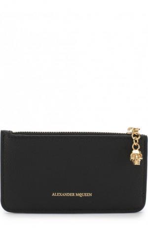 Кожаный футляр для кредитных карт с отделением на молнии Alexander McQueen. Цвет: черный