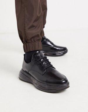 Черные блестящие кожаные туфли на массивной подошве со шнуровкой -Черный Bronx