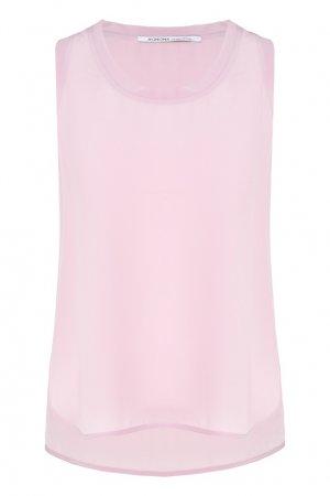 Розовая майка из шелка Agnona. Цвет: розовый