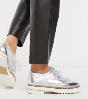 Серебристые кожаные броги для широкой стопы -Серебряный ASOS DESIGN