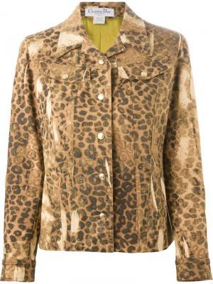 Джинсовая куртка в леопардовый принт Christian Dior Vintage. Цвет: коричневый