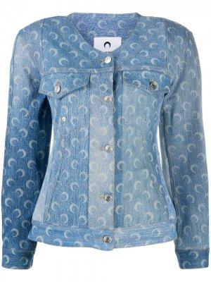Структурированная джинсовая куртка Marine Serre. Цвет: синий