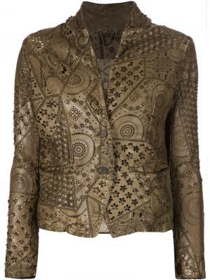 Кожаная куртка с перфорацией Giorgio Brato. Цвет: коричневый