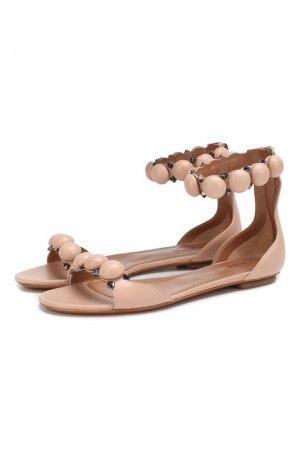 Кожаные сандалии Alaia. Цвет: бежевый