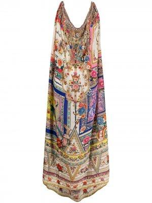Платье с цветочным принтом и кулиской Camilla. Цвет: розовый