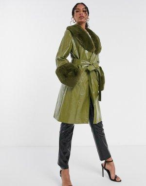 Зеленое пальто миди с завязкой на талии и искусственным мехом -Зеленый Jayley