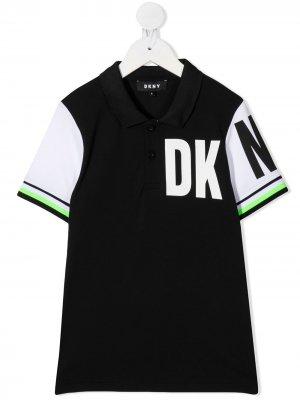 Рубашка поло в стиле колор-блок Dkny Kids. Цвет: черный