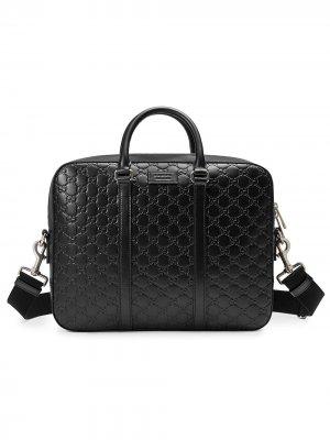Кожаный портфель Signature Gucci. Цвет: черный