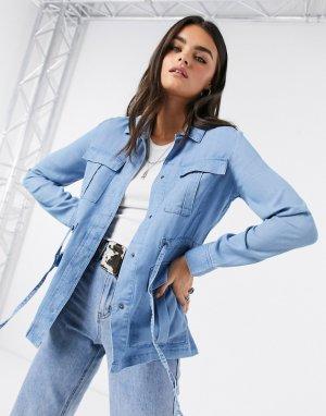 Джинсовая куртка в стиле милитари -Синий Vero Moda