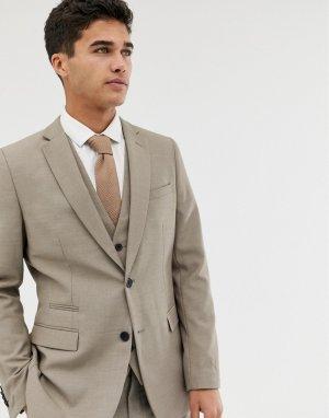 Однотонный приталенный пиджак -Коричневый цвет French Connection