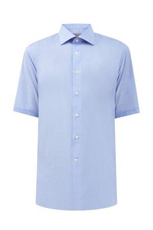 Рубашка с короткими рукавами из поплина Impeccabile CANALI. Цвет: голубой