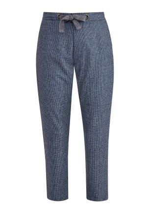 Прямые брюки из шерстяной ткани в ломанную клетку с поясом на кулиске ELEVENTY. Цвет: синий