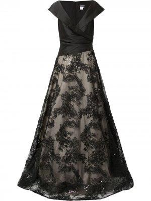 Платье с цветочной вышивкой Jovani. Цвет: черный