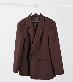 Коричневый двубортный пиджак oversized COLLUSION Unisex-Коричневый цвет