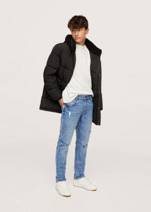 Нарочно рваные джинсы slim-fit - Slimrtb Mango. Цвет: синий средний